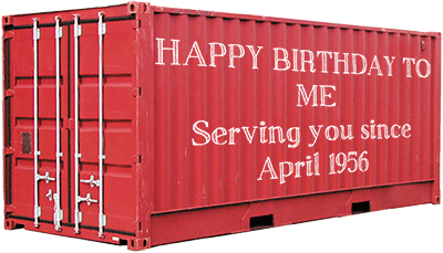 Shipping containers Birthday, 26 April 1956